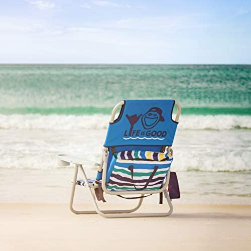 Life is Good Beach Chair with Cooler, Backpack Straps, Storage Pouch and Cup Holder Jake Blue