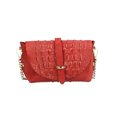 Chicca Borse Woman Clutch in Croco Print with metallic shoulder strap, genuine leather made in Italy