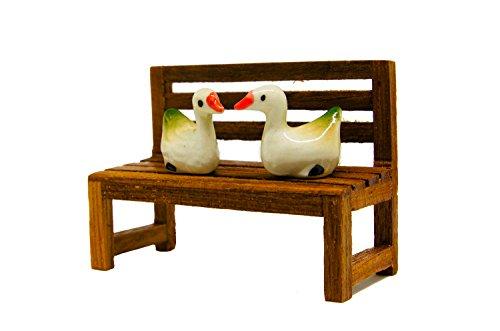 Pbr Ceramic (Blue Mango. Duck ceramic baby bank Callosciurus Finlaysonii Statue 2 x 2.5 cm. and Wooden bench in The park Design Interior Decoration Showcase. Bedroom. Backyard. Collections in Showcase. handmade.)
