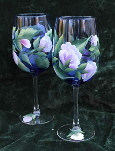 (Hand Painted Wine Glasses - Sweet Peas Lavender and Pink on Cobalt Blue glass (Set of 2))
