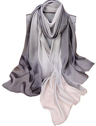 K-Elewon Silk Scarf Gradient Colors Scarves 100% silk Long Lightweight Sunscreen Shawls for Women (A-Gray&White) (Thick Scarf Silk)