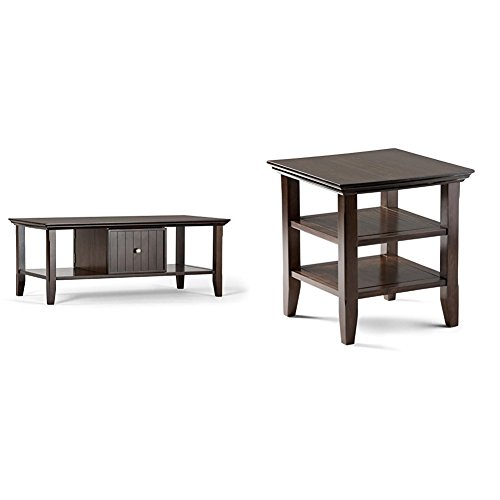 Simpli Home Acadian Coffee Table, Rich Tobacco Brown +