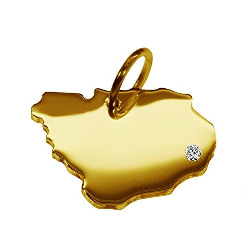 Endroit Exclusif Uruguay Carte Pendentif avec brillant à votre Désir (Position au choix.)-massif Or jaune de 585or, artisanat Allemande-585de bijoux