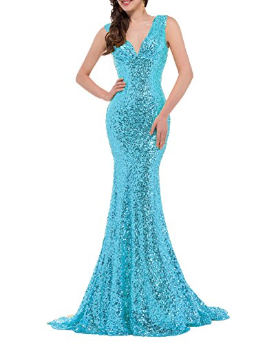 Favors Women's Sequins Evening Dress V Neck Mermaid Formal Party Gown Long Light Blue 12 (Light Blue Mermaid Dress compare prices)