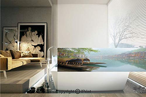 Ylljy00 Decorative Privacy Window Film/Antique Town Misty Mountains Houses Waterside Boats Scenic View/No-Glue Self Static Cling for Home Bedroom Bathroom Kitchen Office Decor - Waterside Stripe