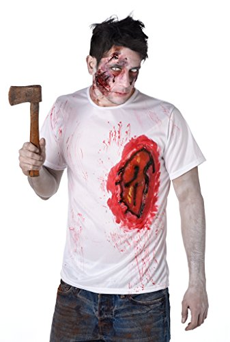 Burnt Zombie Costumes For Adults (Scary Zombie Costume - Zombie Halloween T-Shirt with Bloody Burnt Flesh, Size L)