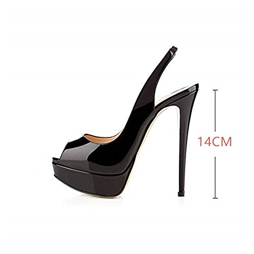 Slingback MIUINCY Thin Fashion Pumps Dress High Platform Women's Heels Black For EECqRwFgTn