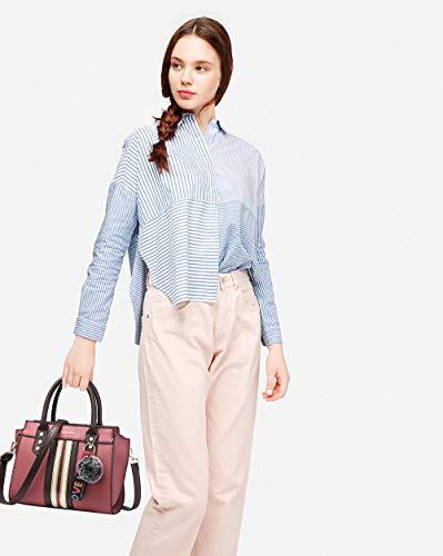 a Colori di Maniglia Tracolla mano Lunga Rosa Contrasto Borse Tisdaini Donna a fHSq5xww