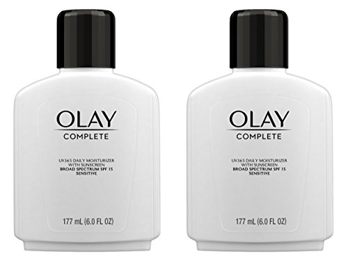 Spf 15 Sunscreen Moisture Cream - Face Moisturizer by Olay Complete Lotion All Day Moisturizer with SPF 15 for Sensitive Skin, 6.0 fl oz (Pack of 2)