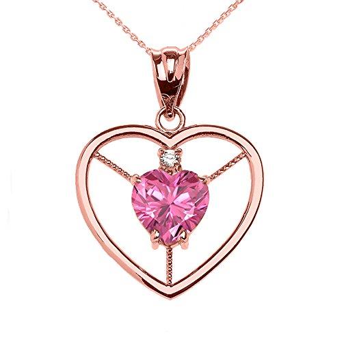Collier Femme Pendentif Élégant 14 Ct Or Rose Diamant et Octobre Pierre De Naissance Rose Oxyde De Zirconium Cœur Solitaire (Livré avec une 45cm Chaîne)