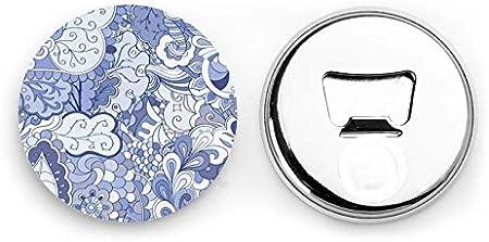 Abrebotellas, Mehndi Design. Textura étnica colorida del Doodle. Abrelatas de vino con fondo curvo para garabatos, imanes de nevera, sacacorchos, 2 piezas
