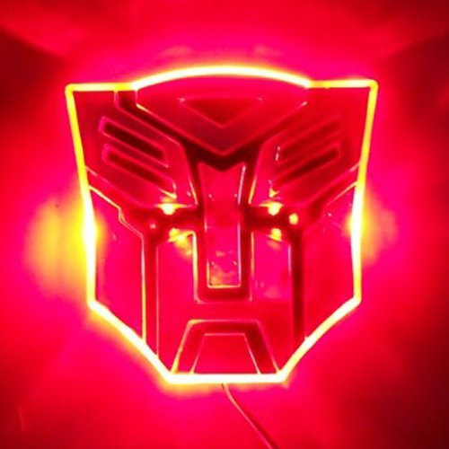 Edge Glowing LED Transformers AUTOBOTS Car Emblem - RED - Autobot Car Badge