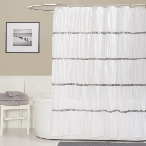 Lush Decor Twinkle Shower Curtain, White (Tassel Curtain Shower)