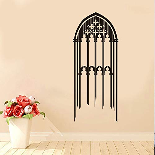 Gothic Window Wall Decal Candles Flowers Embellishment Hollow Out Removable PVC Wall Stickers Room Decoration - Out Embellishments