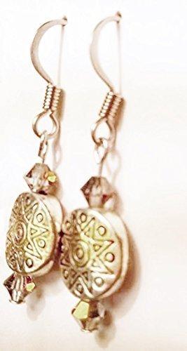 Sun Disc Earring (Sun God - Ancient Sun Pattern Metallic Disc and Iridescent Austrian Crystal Dangle Earrings)