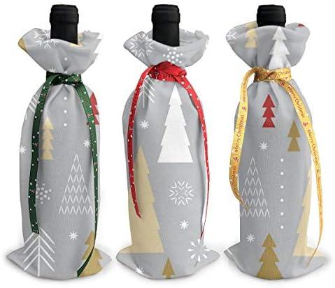 ワインバッグ クリスマスボトルカバー クリスマスツリー シャンパンワインボトル3本用 12 X 34cm ワイン収納 3個ーテーマ ボトル装飾 ワインボトル用 かわいいドレス 3種類のデザイン ギフトバッグ 保管用 ギフトパッケージ