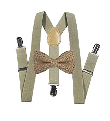 Burlap Bow ties and light brown suspenders Set Combo Mens