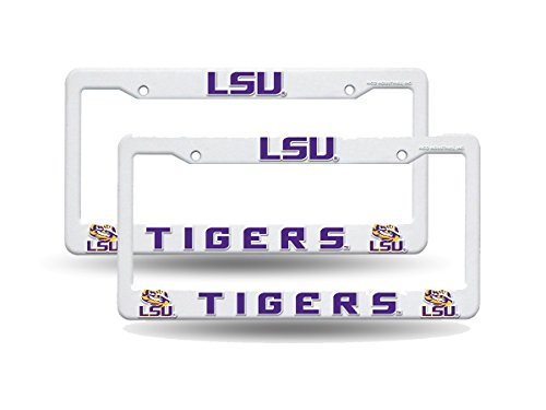 Louisiana State LSU Tigers NCAA Raised Letter White Plastic License Plate Frame Set