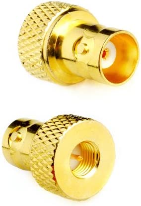 DHT Electronics 2pcs RF coaxial Coax Adapter SMA Male to BNC Female goldplated