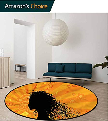RUGSMAT Music Round Area Rug Carpet,Silhouette of Woman and Notes Lifts Basket Swivel Chair Pad Coffee Table Rug Round-47