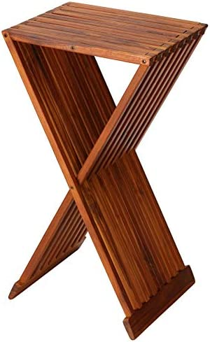 Bare Decor Taj Folding Plant Stand Pedestal Table in Solid Teak Wood, 28 High