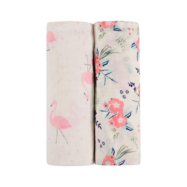 Newborn Essentials – Super Soft Muslin Baby Swaddle Blankets – Pack of 2 – Bamboo & Cotton Blend – Pink & Blue Floral Patterns for Girls & Boys – For Receiving, Swaddling, Covering Strollers & Nursing