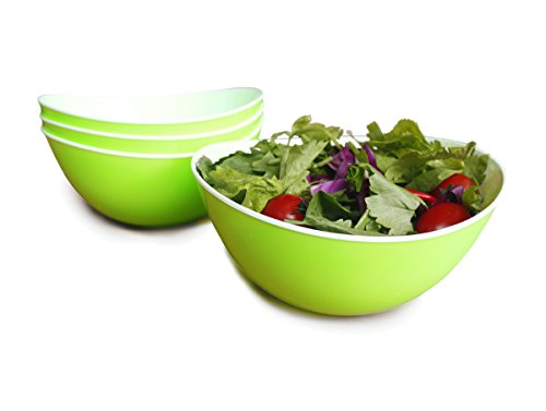 Honla Oval Wavy Plastic Serving Bowls,Party Snack or Mixing Salad Bowls-Set of 4,41.6 Ounce-Perfect Size for Pasta,Cereal,Desserts,Rice,Soup or Side Dishes,Light Green and White (S Shaped Fruit Holder)