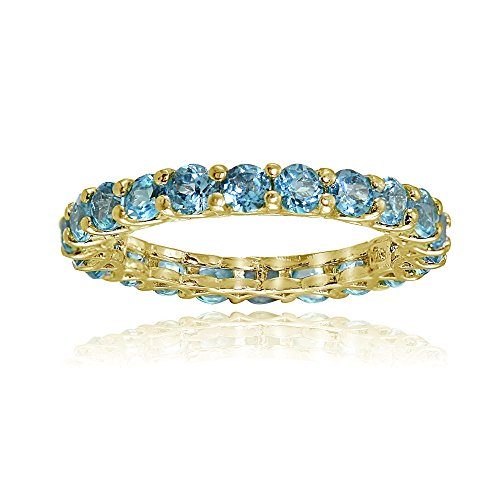 Yellow Gold Flashed Silver Swiss Blue Topaz 3mm Round-cut Eternity Ring, Size 5