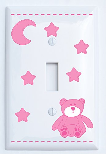 (Pink Teddy Bear Light Switch Plate Single Toggle Covers with Pink Moon and Stars/Teddy Bear Nursery Decor (Single)