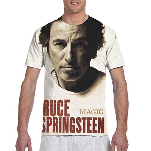 LANDONL Men's Bruce Springsteen Magic 3D Printed Short Sleeve Tshirts Black 3XL