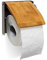 Relaxdays 10019179 toiletpapierhouder h x b x d: 13,5 x 14,5 x 13,5 cm wc-rolhouder voor 1 wc-roll voor wandmontage van bamboe en roestvrij staal als wandrolhouder voor de badkamer, naturel