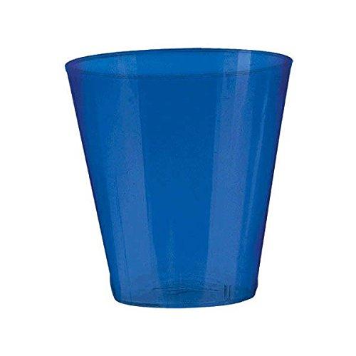 Amscan Big Party Pack Bright Plastic Shot Glasses, 2 oz., Royal Blue (Plastic Blue Glasses)
