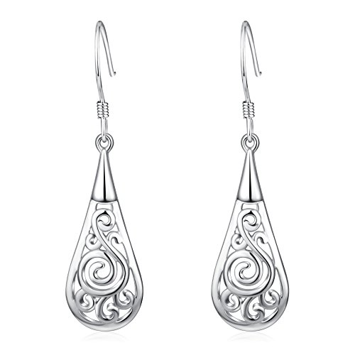 p Dangle Earrings Sterling Silver High Polished Hypoallergenic Filigree Earrings for Women, for Mother Daughter Sister Girlfriend ()