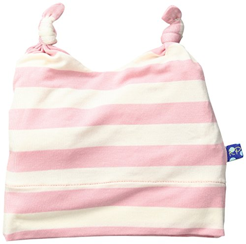 KicKee Pants Girls' Essentials Print Double Knot Hat, Lotus Stripe, 3-12 Months