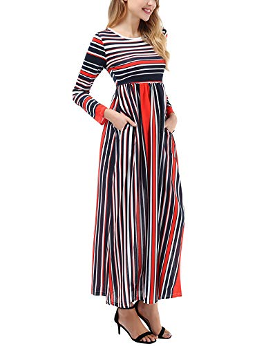 Sleeve Casual Elastic Maxi with Long Short Dress Empire striped Pockets 2 Long Waist Striped Women's Sleeve Uniboutique 6IRq4Fwx5A