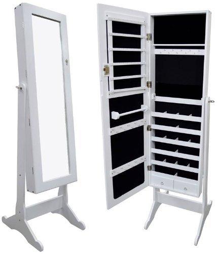 Amazoncom White Mirrored Jewelry Cabinet Armoire Organizer Storage