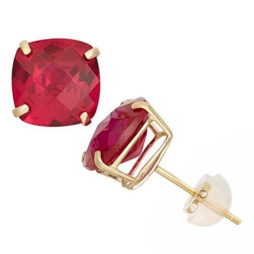 10K Yellow Gold Cushion-Cut Gemstone Stud Earrings, 8x8mm, Choice of Genuine or Simulated Birthstones