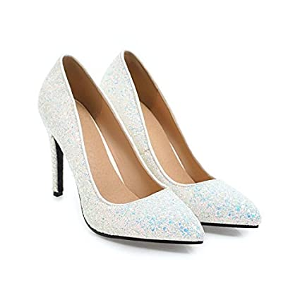 bfe3043142f67f GTVERNH Women'S/Ladies/Fashion/Summer/10Cm High Heels Single Shoes Spring  And Autumn Sequins Wedding Shoes Party Shoes Sharp Head Shallow Mouth Fine  Heel ...