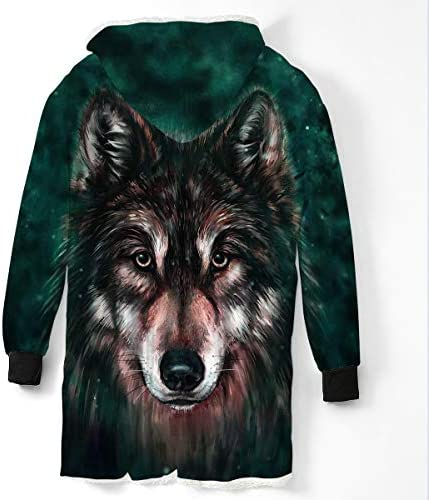 Allywit 3D Wolf Printed Mens Casual Blanket Coat Soft Sherpa Long Coat Winter Fluffy Warm Coat for Men Plus Size