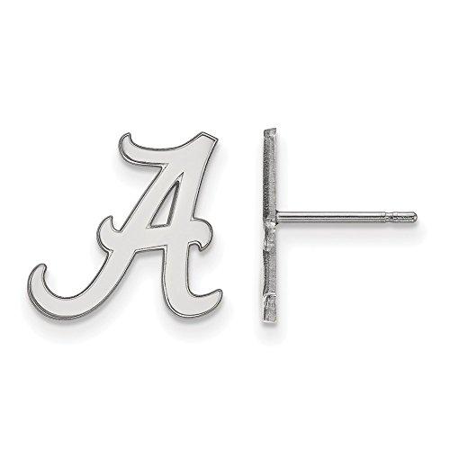 14k White Gold LogoArt Official Licensed Collegiate University of Alabama (UA) Small Post Earrings by LogoArt
