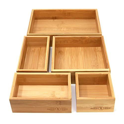 Organizador de cajones de bambu de 5 piezas | cajas de almacenamiento de madera duraderas | Tamanos surtidos | Versatil y configurable | M&W