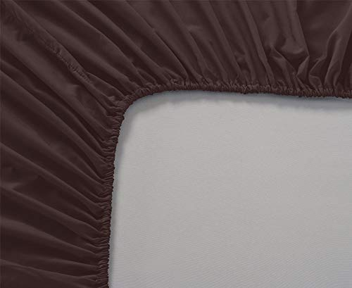 "Premium Quality 1 Piece Fitted Sheet (Bottom Sheet Only) 8"" inches Deep Pocket 800 Thread Count Egyptian Quality Cotton Solid Pattern Queen Chocolate"