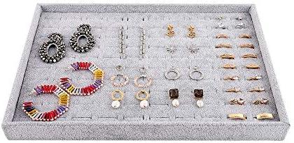 Emibele Jewelry Organizer, 100 Slots Ring Organizer Studs Earrings Organizer Tray Showcase Display Velvet Stackable Jewelry Storage – Grey