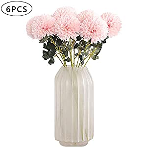 AOCOA 6Pcs Artificial Flowers Large Chrysanthemum Ball Bouquet Fake Hydrangea Silk Heads with Stems for Home Garden Party Wedding Decorations 37