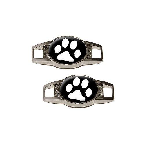 - Paw Print - White on Black - Shoe Sneaker Shoelace Charm Decoration - Set of 2