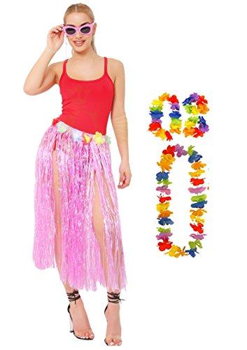 Collier amp; Hawaiian Hula Set 80cm Night Hula Hen 40cm ou Bracelet Long Hula Dress Ladies Fancy 80cm Rose Lei Wedding Jupe qcdP8Zd