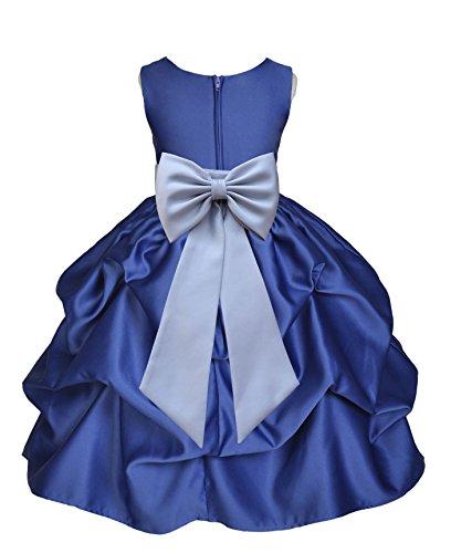 ekidsbridal Navy Blue Pick-Up Satin Bubble Junior Flower Girl Dress Formal Events 208T 8