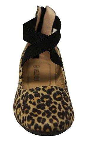 Belladia Brea Kvinna Rund Tå Korsning Ankelbandet Dragkedja Mocka Platt Dansskorna Leopard