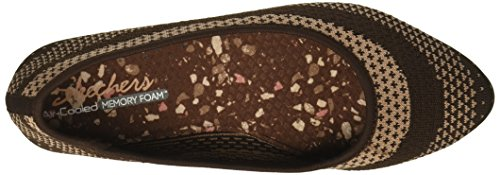 Skechers Womens Cleo Hot Dot Ballet Flat Chocolate