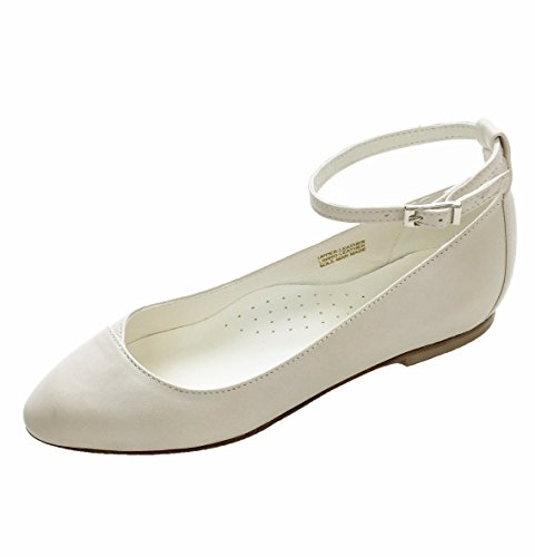 Chebran Narrow Width | Made In Portugal | Ankle Strap | Off-White Leather Flats | Size 9 by Chebran